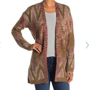 Lucky Brand Knit Stitch Open Front Cardigan Lux S